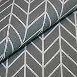 Canvas-Stoff Geometrisch Gemustert Baumwolle Meterware - grau mit weißem Strich-Muster - Nähen, Dekostoff, Bezugsstoff - Preis pro Meter