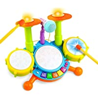 Toyico Electric Musical Drum Set for Kids with High Fidelity Microphone, Jazz Drum Set with Piano Keyboard and Singing…