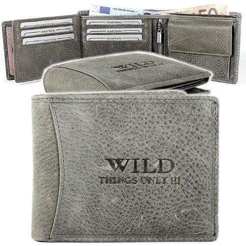 Portafogli da uomo in pelle con chiusura a portafoglio con portamonete wild, grigio (grigio), 0