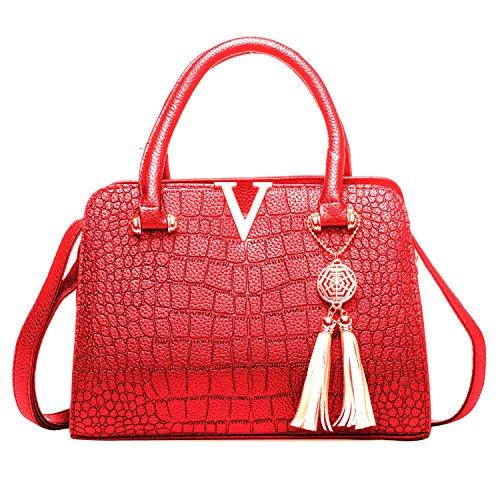 Mufly Borsa Signora Chicca a Spalla a Mano Bauletto Elegante in PU Custodia Tote Modello Coccodrillo con Manici Confortevole Rosso