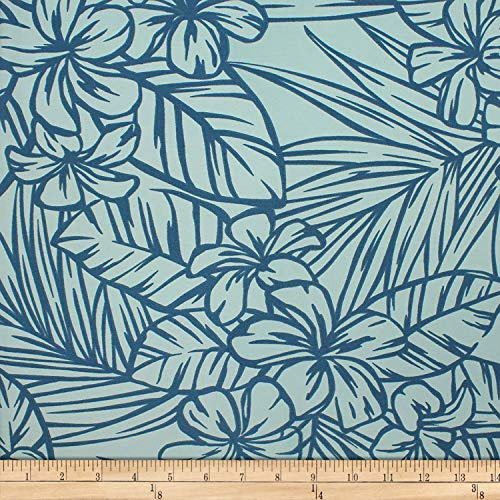 Trans-Pacific Textiles 0671069 Matte Jersey Knit Simple Plumeria Aqua Fabric Stoff, Textil, By The Yard -