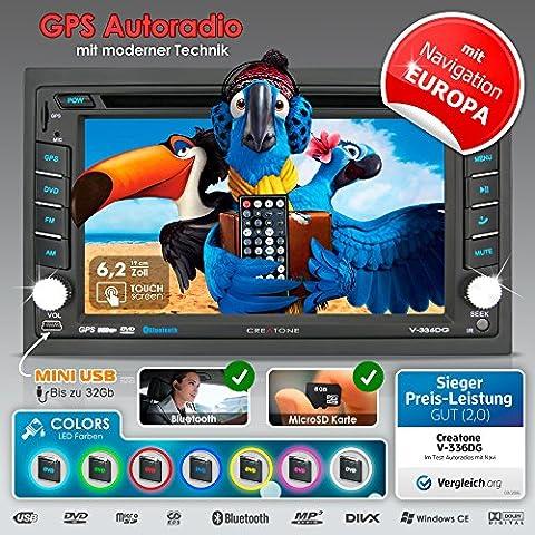 2DIN Autoradio CREATONE V-336DG mit GPS Navigation (Europa), Bluetooth, Touchscreen, DVD-Player und