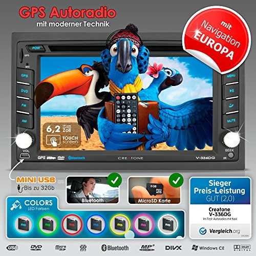 2DIN Autoradio CREATONE V-336DG mit GPS Navigation (Europa), Bluetooth, Touchscreen, DVD-Player und USB/SD-Funktion Dvd-player Auto-bluetooth