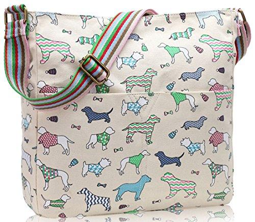 Kukubird Various Animals & Patterns Print Canvas Crossbody Bag Variety Dogs - Beige