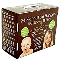 Grohangers Extendable Hangers with Clips for All Kinds of Kids Adult Clothes Multi-Size - 24 per Pack