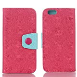 iPhone 8 Plus Phone Case, TechCode Screen Protective with Cards Slots Cash Holder Magnetic Smart Cover Flip Card Holder Wallet Case for iPhone 8 Plus 5.5 inch(iPhone 8 Plus,Hot Pink)