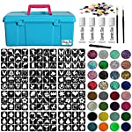 Glitter Tattoo Kit - Jumbo Girls Boys Princess Super Hero 288 Stencils Brushes Glitter Pots Gems Blue Box Adhesive (Complete Kit 46)