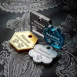 Hundemarke Anhänger fürs Halsband Personalisiert Luxus Premium Katze Haustier ID Graviert | 4 Farben | 8 Formen | 3 Größen ❤