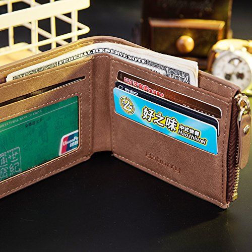 Baborry-Herren Brieftasche CRotit/ID Karte Halter Mit Reißverschluss Münztasche Kaffee kaffee