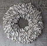 Homeclassics Großer Shabby Blüten Kranz altweiß Türkranz Wandkranz 55 cm Naturkranz Landhaus