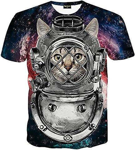 Pizoff unisex Herren T-Shirt Sommer Rundhalsausschnitt kurze Ärmel tauchen maske katzen Muster Spaß Hip Hop bequeme Tops