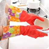 Lukzer Silicone Waterproof Reusable Hand Gloves for Kitchen Soft Warm Latex Free Size Elbow Length for Women (Red)- 1…