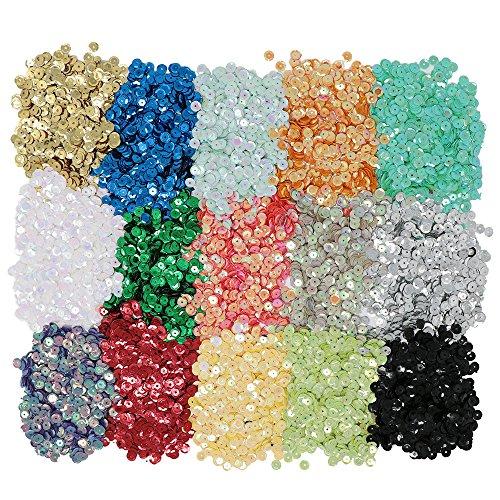 vapker 15Farben 6mm lose Pailletten Rainbow Tasse Pailletten Bulk irisierend Plättchen aufpflanzend Craft Supplies verschiedene Farben für DIY Arts Crafts dadurch (150gram) (Pailletten Unter $10)