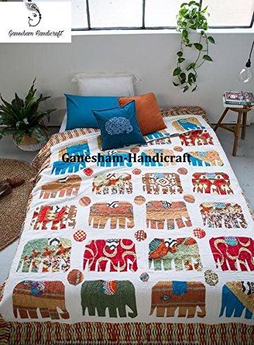Indische Hippie Home Decor indische Decke, Überwurf, Elefant, handgefertigt Steppdecke, Bohemian Betten, Bohemian Tagesdecke, Überwurf Decken, Baumwolle Kantha Bettwäsche, Hand bestickt Vintage Kantha Quilt, (Zwei)