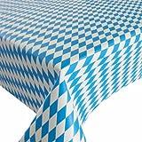 Wachstuch Breite & Länge wählbar - Bayrische Raute Blau Weiss Lebensmittelecht - ECKIG 140 x 130 bzw. 130x140 cm abwaschbare Tischdecke Wachstücher Gartentischdecke