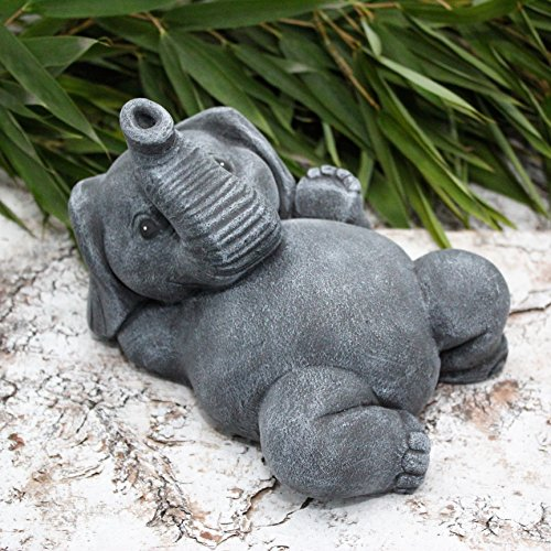 Steinfigur Elefant liegend Schiefergrau, Garten Deko Figur Stein Frostsicher