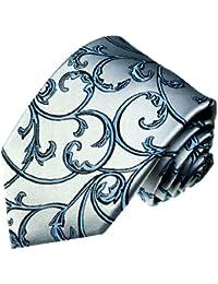 LORENZO CANA–Cravate de luxe 100% soie Design–Argent/Bleu/Argenté Bleu Noir Ranken–84297