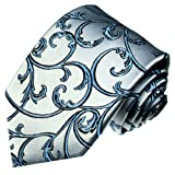 LORENZO CANA-Cravate de luxe 100% soie Design-Argent/Bleu/Argenté Bleu Noir Ranken-84297