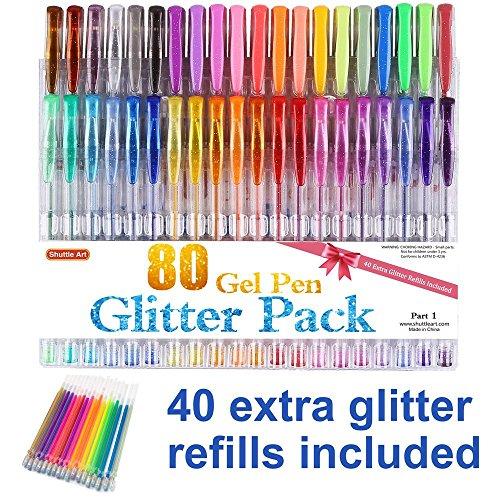 Glitter Gel Pens, Shuttle Art 80 Pack Gel Pens 40 Colores Glitter Gel Pen Set con 40 recambios para adultos Libros para colorear Garabatos Drawing Writing
