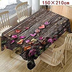 MOIKA Nappe de Table Saint Valentin Imprimé Floral Jacquard Restaurant Style Simple Nappe Anniversaire Essentials (C,150 * 210)