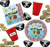 Partyset Pirat für 10 Kinder, Teller, Becher, Servietten + Münzen, Augenklappen