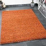 VIMODA Prime Shaggy Teppich Farbe Kupfer Hochflor Langflor Teppiche Modern für Wohnzimmer Schlafzimmer, Maße:200 cm Quadrat