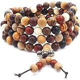 108 Cuentas de Madera Natural Pulsera/Collar Rosario de Cadena Cuentas Multicolores Buda Budista Tibetano Mala Nudo Chino Pul