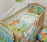 5 Pcs Baby Nursery Bedding Set, 140x70cm 420cm long Bumper, Suits Cot Bed - Pattern 19