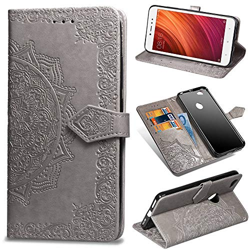 Abuenora Funda para Xiaomi Redmi Note 5A Prime, Carcasa Libro con Tapa Flip Case Antigolpes Golpes Cartera PU Cuero Suave Soporte con Correa Cordel - Mandala Gris