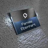 Metzler-Trade Türklingel aus Edelstahl - GRATIS Gravur/Beschriftung - transparentes Namenschild LED-beleuchtet - LED-Klingeltaster in verschiedene Farben - zur Unterputz-Montage