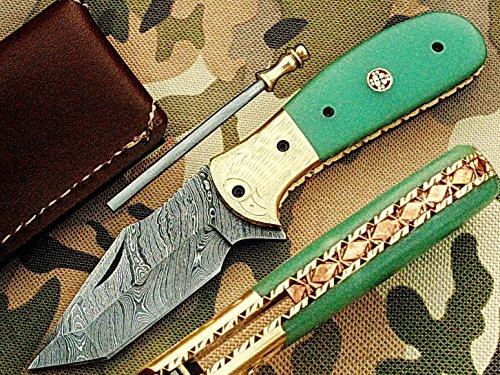 faite à la main 18 cm Awesome couteau de poche pliant des véritables Acier de Damas avec manche G10 Matière Mitres et gravée : (Bdm-112) (Legal au transport)