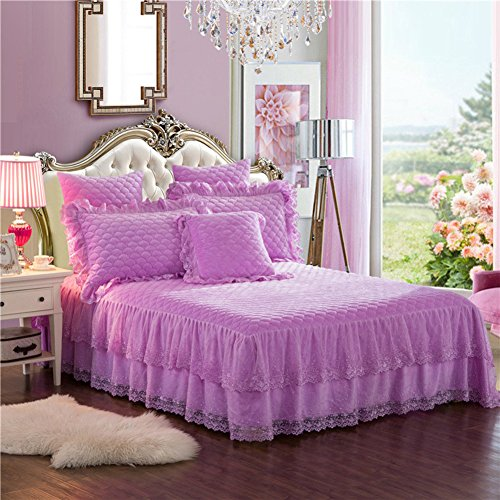 HAOLY Velours de Cristal Matelasse Jupe de lit,Matelasse Épais Couverture de lit,Anti-dérapant Chaleureuse Couverture de lit-D 150x200x45cm(59x79x18inch)