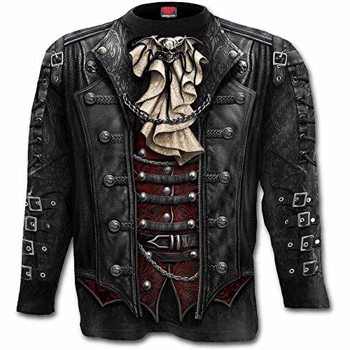 Espiral Hombres–fangbanger Wrap–Allover camiseta de manga larga Plus tamaño Negro negro XXX-Large