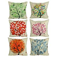 """Luxbon Set of 6Pcs Colorful Spring Life Tree Decorative Cushion Cover 45cmx45cm Durable Cotton Linen Shabby Chic Pillow Case 18""""X18"""" Throw Pillow Covers Home Decors"""