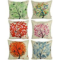 Luxbon Conjunto de 6 Fundas Cojín Almohada Lino Duradero Primavera Árbol Flor Esperanza Seis Colores Decorativos para Sofá Cama Coche 45x45 cm
