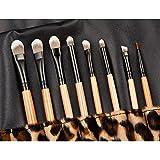 soldcrazy 12pcs Purely Natural Mango de madera natural de lana de profesional Flat Top Maquillaje en ángulo de Foundation//Face Powder/Base/Face Contour conjuntos de cepillo de maquillaje y herramientas (Leopard)