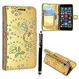 Kamal Star® Nokia Microsoft Lumia 640 Premium PU Leather Magnetic Flip Case Cover + Stylus (Rose Gold Diamond Book)