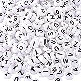 Naisidier Perlen, Quadratisch, Weiß, Schwarz, Buchstaben aus Kunststoff, ca. 0,5 mm, Perlen, Buchstaben des Alphabet