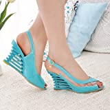 Wedge heels, sandals, summer trips, buckle, fish mouth, slope heel, high-heeled shoes, female sandals,blue,40