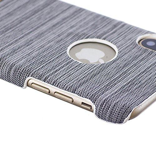Apple iphone X hülle, Voguecase Hybrid Hülle Koffer Schutzhülle Handyhülle Schutz vor Stürzen und Stößen Schutzhülle für iphone X Case Cover (Leinen Stab Leder-Dunkelgrün) + Gratis Universal Eingabest Leinen Stab Leder-Grau