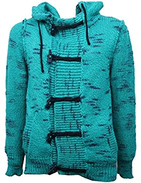 B4219 maglione uomo MINIMAL verde cardigan cappuccio sweater men