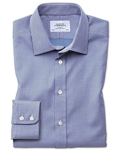 Slim Fit Hemd aus ägyptischer Baumwolle in MarineBlau mit Diamant-Tupfen Knopfmanschette