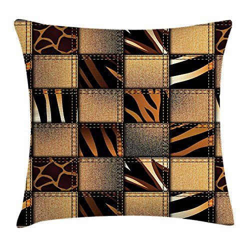 fjfjfdjk Jeans Denim Patchwork in Safari Style Wilderness Stylized Design Art PrintSafari Throw Pillow Cushion Cover Decorative Square Accent Pillow Case 18 X 18 Inches Brown and Black (Pillow Hug Sex)