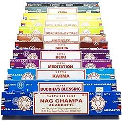 Conjunto de yoga genuinas de Satya Sai Baba Nag Champa variedad mezcla de regalo, 12x 15g cajas de incienso, incluye, nag champa, super hit, namaste, chakra, reiki, sanación espiritual, la bendición de Buda, karma, meditación, ayurveda tradicional, tantra, prana