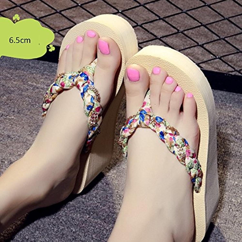 Cómodo Zapatillas deslizadizas deslizadizas del verano femenino de los altos talones Zapatos inferiores gruesos...