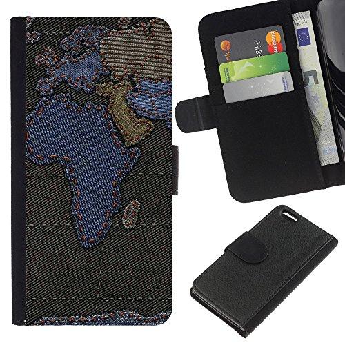 5c Map World Iphone-hülle (Graphic4You Africa Europe World Map Sewn Denim Jeans Design Brieftasche Leder Dünn Hülle Tasche Schale Schutzhülle für Apple iPhone 5C)