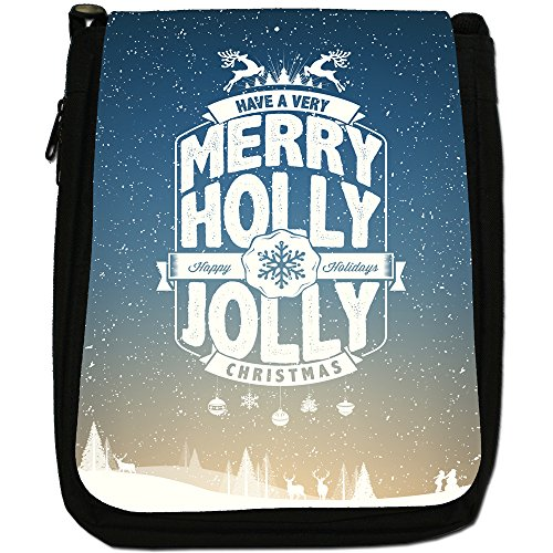 Neve Tipografia auguri di Natale Medium Nero Borsa In Tela, taglia M Happy Jolly Holly Christmas