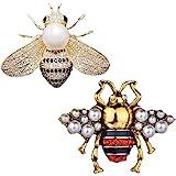 Carreor - Confezione da 2 spille con strass e perla, a forma di ape, con ciondolo a forma di ape e miele, ideali per donne