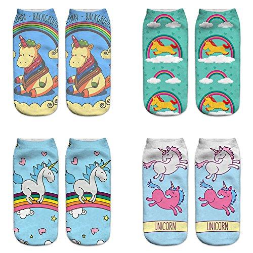 LegendsChan 4 Paar Damen Mädchen Cartoon Einhorn Socken Weich Elastisch Sport Socken Strümpfe Füßlinge Bunt Motiv (4 Paar-5)