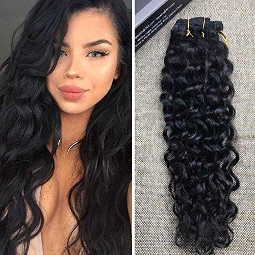 """Ugeat 22"""" Brasilianische Extensions Natural Wave Tressen Echthaar Clip in Haare Schwarz Haarverlangerung Echthaar Extensions #1B 120g"""